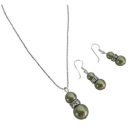 Stunning Swarovski Green Pearls Customize Wedding Jewelry