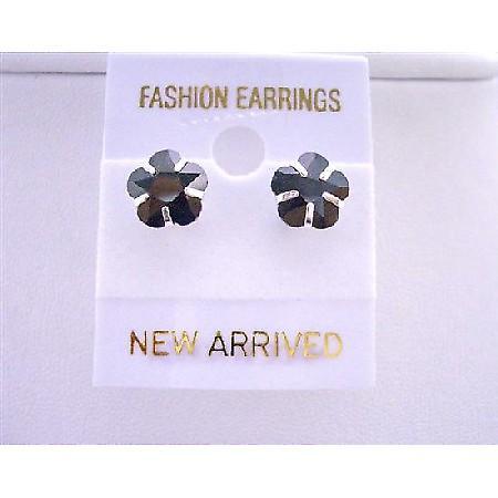 Trendy Striking Black Cubic Zircon Flower Shaped 8mm Stud Earrings
