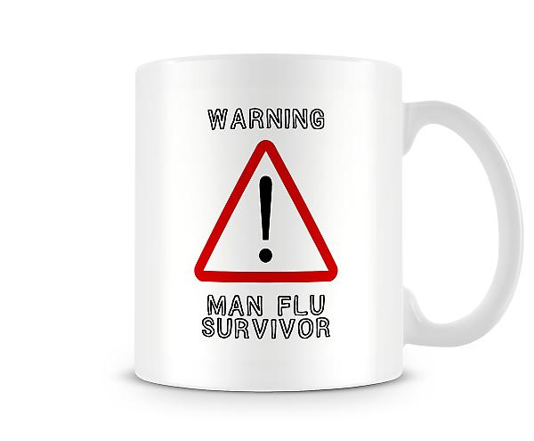 Man Flu Survivor Warning Sign Mug