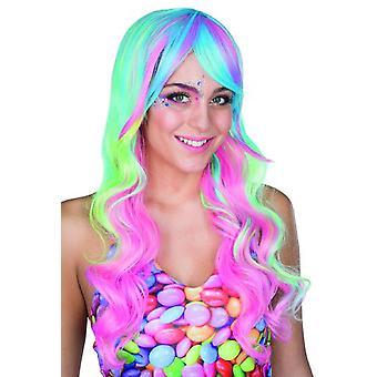 Candy Lady Perücke Langhaarperücke Pastelltöne Karneval Einhorn Meerjungfrau