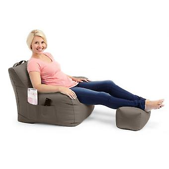 Grey Water Resistant Large Bean Bag Relaxing Chair with Matching Footstool