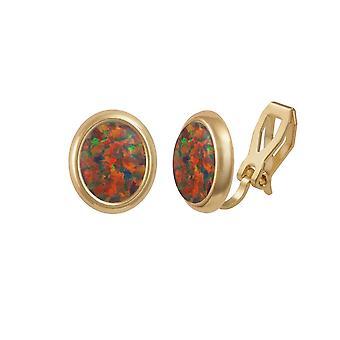 Ewige Sammlung Menuett mexikanischer Opal Goldton Stud-Clip auf Ohrringe (MM)