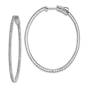 925 Sterling Silver Polished Hinged hoop Safety clasp Rhodium-plated Rhodium Plated Cubic Zirconia In and Out Oval Hoop