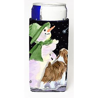 Snowman with English Springer Spaniel Ultra Beverage Insulators for slim cans SS8949MUK