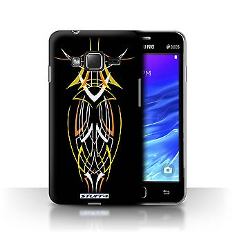 STUFF4 Case/Cover for Samsung Z1/Z130/Yellow/Orange/Tribal Pinstripe