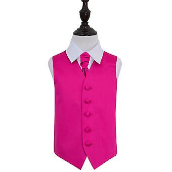 Boy's Hot Pink Plain Satin Wedding Waistcoat & Cravat Set