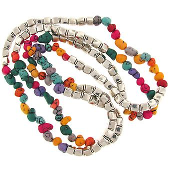 Long Alternating Silver Bead & Multicoloured Stone Necklace