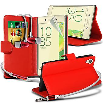 i-Tronixs Sony Xperia E5 Case PU Leather Wallet Flip Cover + Earphones -Red