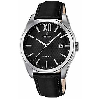 Festina Mens Automatic Black Leather Strap F16885/4 Watch