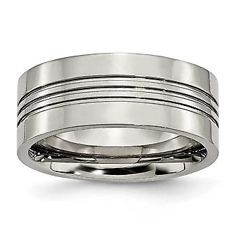 Titanium Grooved 9mm Polished Band Ring - Size 8.5