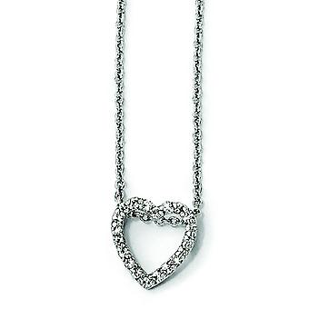Sterling Silver CZ Heart 18 Inch Necklace - 18 Inch