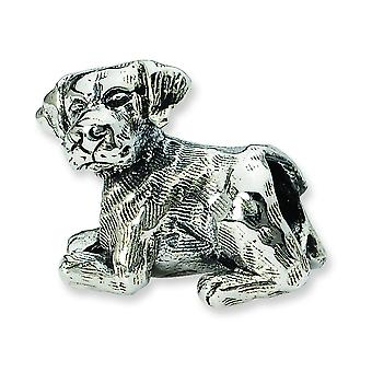 Sterling Silver Polished Antique finish Reflections Labrador Retriever Bead Charm