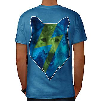 Blue Wolf Face Dog Animal Men Royal Blue T-shirt Back | Wellcoda