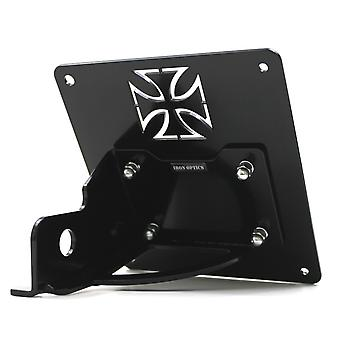 Iron optics motorcycle of side number plate holder iron cross fits Harley Davidson