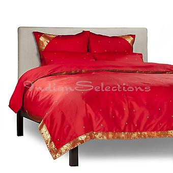 Fire Brick-5 Piece Handmade Sari Duvet Cover Set with Pillow Covers / Euro Sham