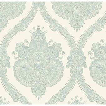 Damask Wallpaper Textured Modern Moselle Teal Cream Holden Decor