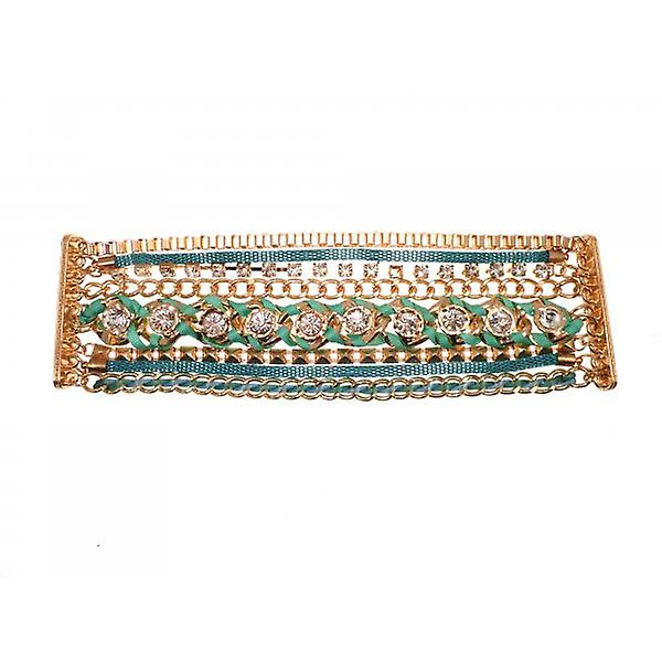 W.A.T Gold Style Multi Chain Crystal And Green Ribbon Bracelet