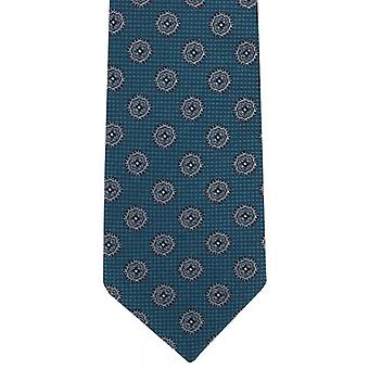 Michelsons of London Floral Medallion Silk Tie - Teal