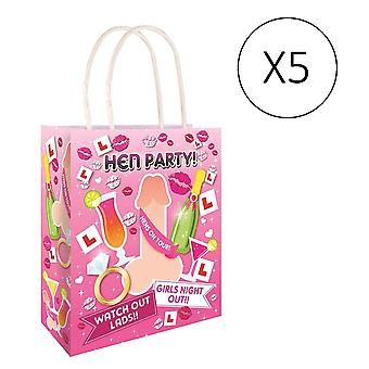 Hen Night Pack of 5 Willy Pink Paper Hen Party Gift Bags