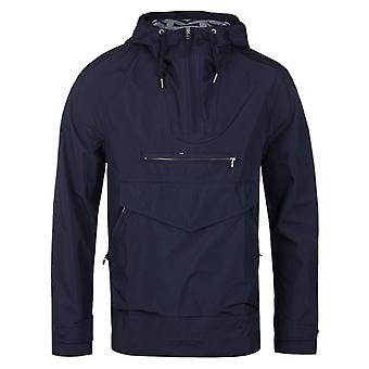Pretty Green Navy Water Resistant Overhead Hooded Jacket