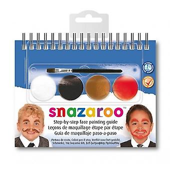 Snazaroo Party Pack Face Paint Kit Brush Fancy Dress Accessory Moustaches Guide