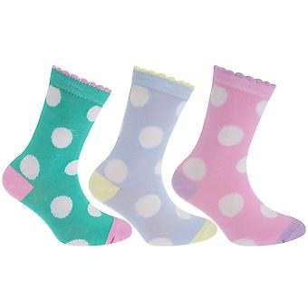 Childrens Girls Polka Dot Patterned Socks (Pack Of 3)