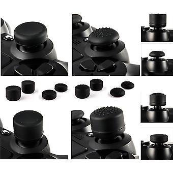 GNG 8 x Soft Rubber Thumb Grips Black Thumbstick Joystick Extra High Enhancements Cover Caps Skin For Sony Play Station 4 PS4 PS3 Xbox 360 XBOX One