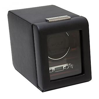 Wolf Designs Roadster Black Leather & Wood Single Watch Winder 2.7
