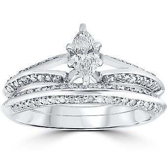 3/4 ct Marquise Diamond Engagement Wedding Ring Set 14k White Gold