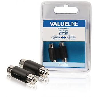 ValueLine Audio connectors for 2 x RCA female-female black