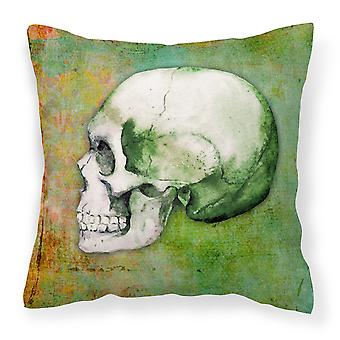 Day of the Dead Green Skull Fabric Decorative Pillow