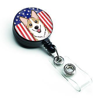 Bandera americana y Sable Corgi insignia Retractable carrete