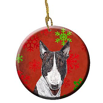 Bull Terrier Red Snowflakes Holiday Ceramic Ornament