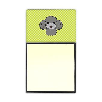Lime Silver Gray Poodle Refiillable Sticky Note Holder or Postit Note Dispenser