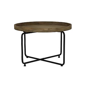 Light & Living Side Table Ø75x50 Cm ANTIGUA Metal Black+wood