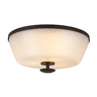 FE/HUNTLEY/F Huntley 3 Light Bronze Flush Light with Ivory Glass Shade