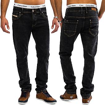 Men's slim fit jeans LEVIN acid wash denim grey clubwear men jeans pants