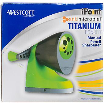 Westcott iPoint Titanium Bonded Manual Pencil Sharpener-Green & Gray, Antimicrobial IP16549