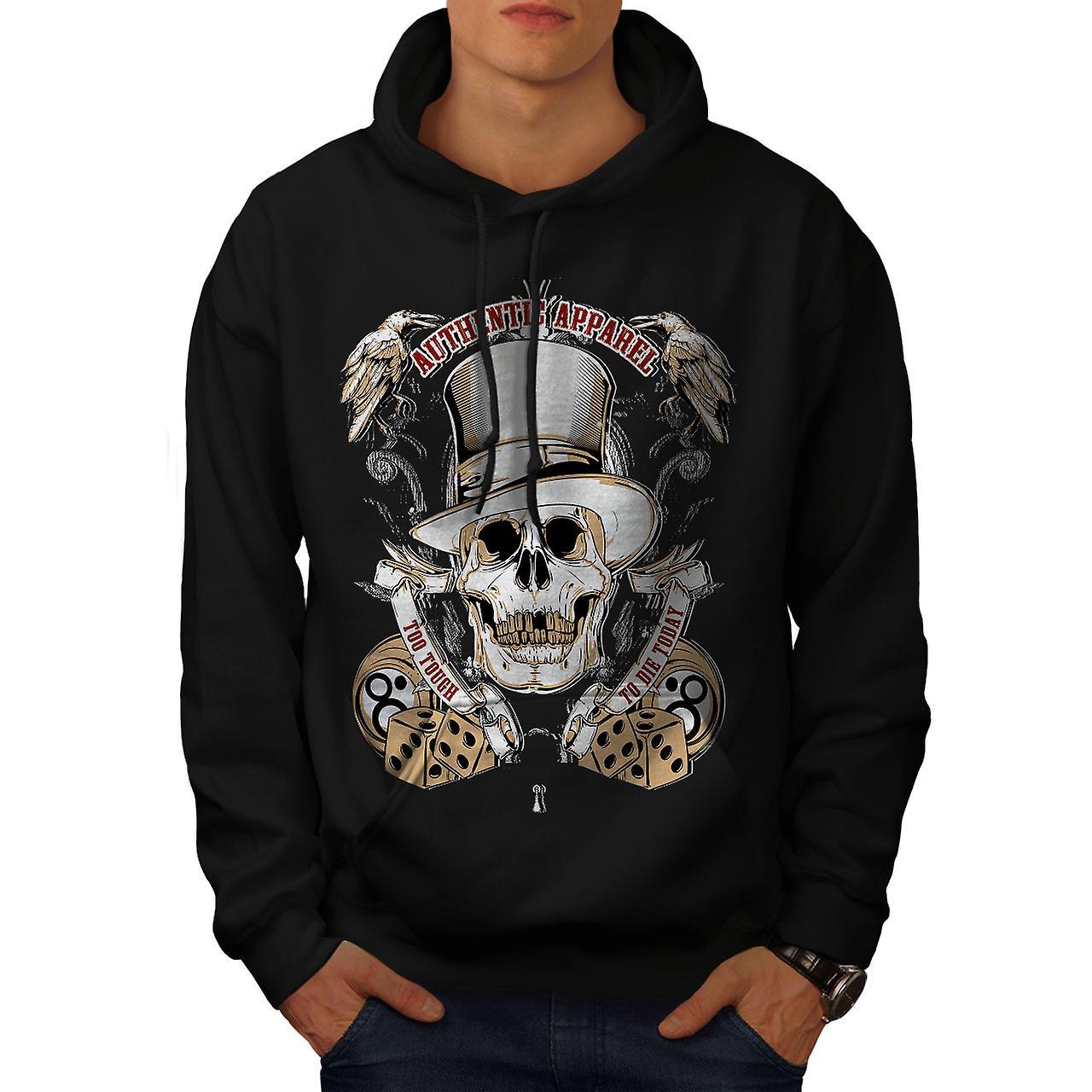 Too Tough To Die Skull Men Black Hoodie | Wellcoda