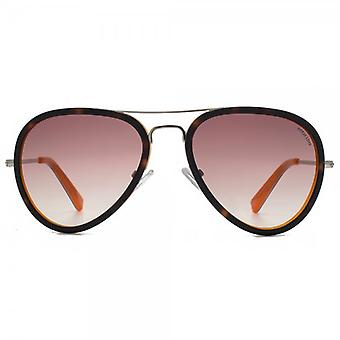 Hook LDN Supersonic Sunglasses In Tortoiseshell On Orange