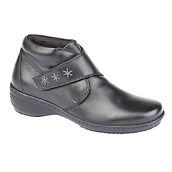 Ladies Womens New Leather Memory Foam Sock Touch Fastening Ankle Boots Shoe