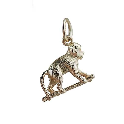 9ct Gold 10x14mm monkey on all fours Charm