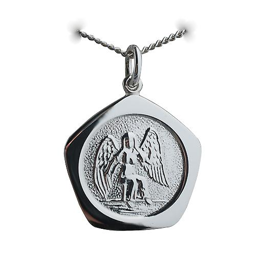 Silver 21mm five sided Virgo Zodiac Pendant with a curb Chain 22 inches