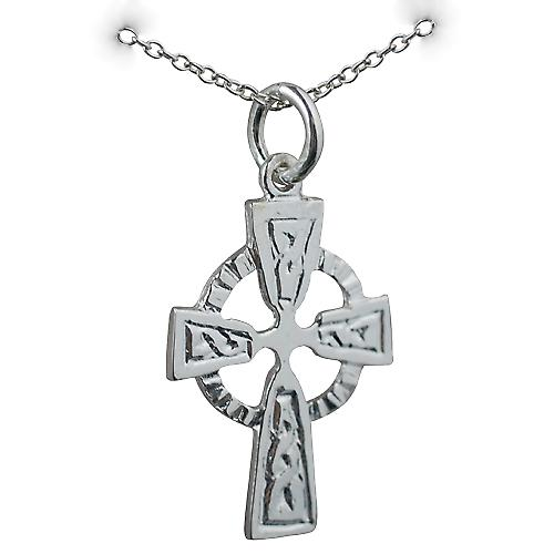 Silver 22x16mm Celtic embossed pattern Cross with a rolo Chain 16 inches Only Suitable for Children
