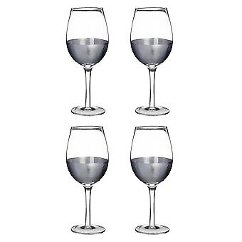 Premier Housewares Apollo Set of 4 Large 500ml Wine Glasses, Silver