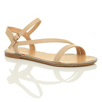 Ajvani womens flat strappy buckle diamante trim summer evening sandals shoes