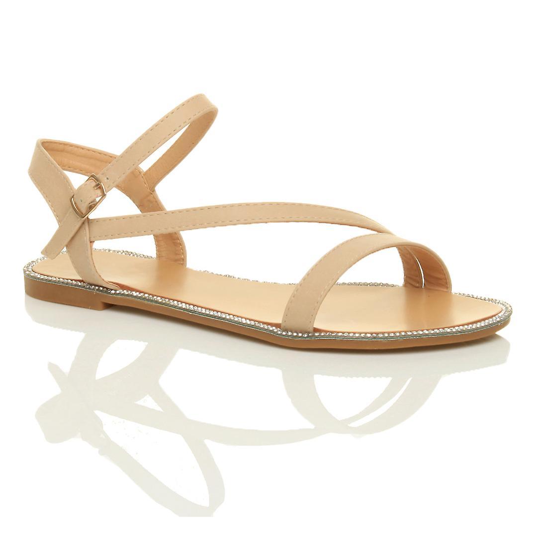 Ajvani donna flat strappy buckle diamante trim summer evening sandals scarpe | Louis, in dettaglio  | Maschio/Ragazze Scarpa