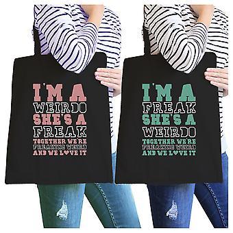 Weirdo Freak BFF Matching Canvas Bags Black Cute Gift For Teens