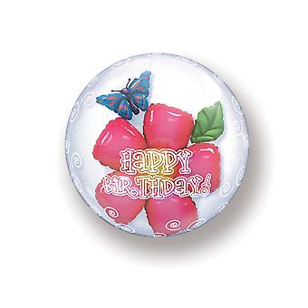 Balloon double Bubbel ball happy birthday birthday flowers approximately 55 cm