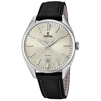 Festina mens watch classic leather strap classic F16977/3